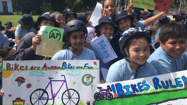 Students at St Mary's made signs to show their appreciation for their new cycle track.