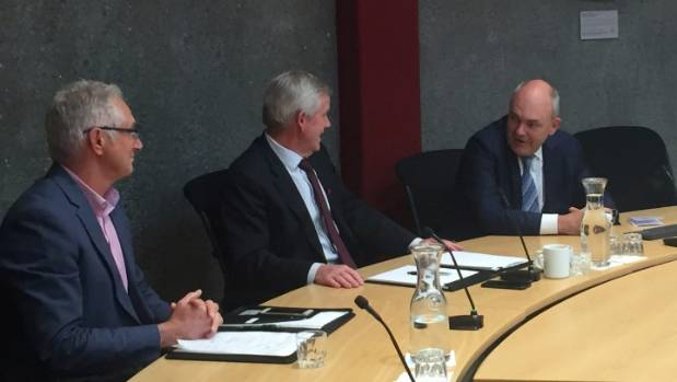 A meeting in the Marlborough District Council chambers, from left, chief executive Mark Wheeler, Marlborough Mayor John ...