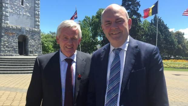 Marlborough Mayor John Leggett, left, with economic development minister Steven Joyce.