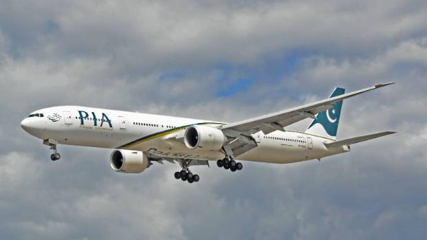 The Pakistan International Airlines flight was over the North Sea when the blockage was discovered.
