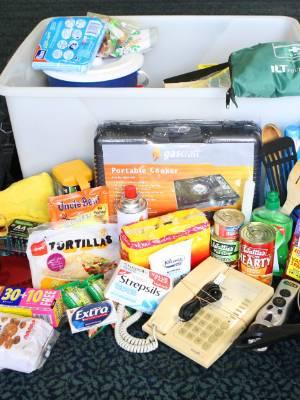 Emergency survival kit contents.