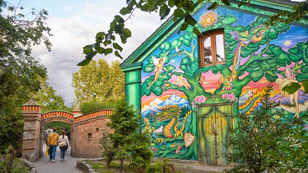 The house at the entrance to Freetown Christiania in Copenhagen, Denmark. It is a self-proclaimed autonomous ...