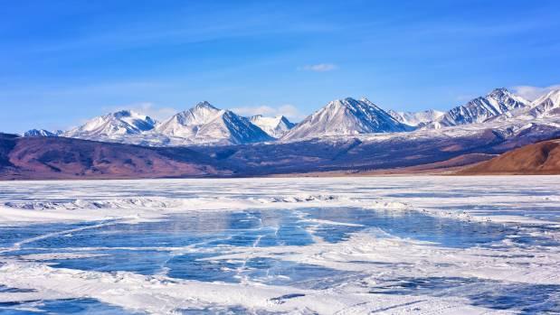 Sayan Mountains over Lake Hovsgol, Mongolia.