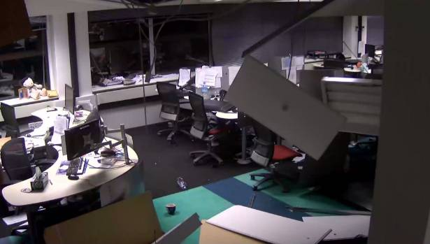 CCTV footage shows how hard the 7.8 magnitude earthquake hit a Lower Hutt call centre.