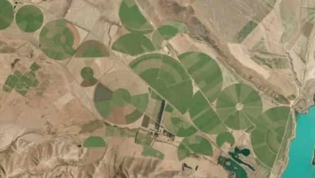 Irrigation circles in Mackenzie.