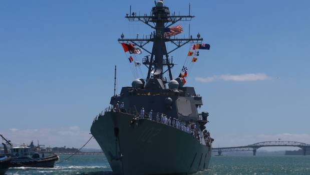 A sight not seen for 30 years - an American warship, the USS Sampson, in New Zealand waters.