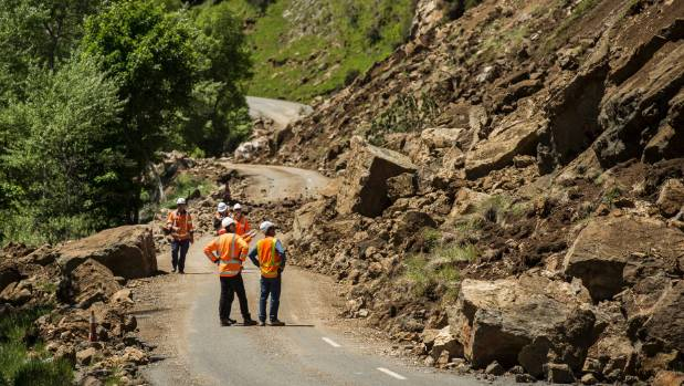 Contractors work on repairing the inland road  between Kaikoura and Waiau.