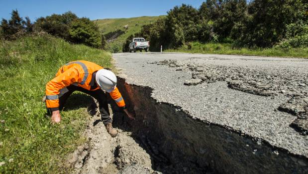 Downer South Island GM Scott Ford  inspects parts of the inland road between Kaikoura and Waiau.