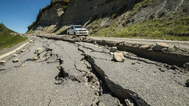Downer South Island GM Scott Ford inspects parts of the 'Inland Road' between Kaikoura and Waiau, which was closed ...