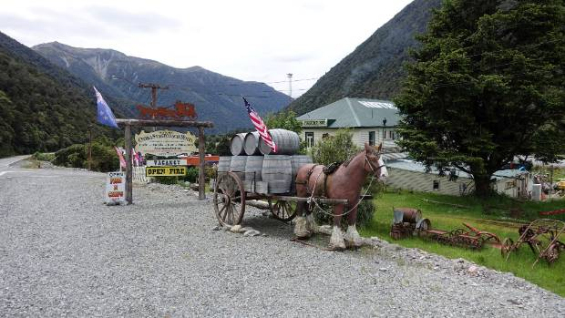 The roadside display makes it clear what Otira's theme is all about.