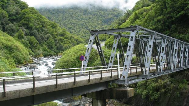An Alpine Fault rupture may be centred near Haast. Pictured is the bridge over the Haast River.
