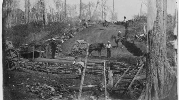 William Temple's photograph taken circa 1863 shows Deviation members of the Royal Artillery working on the Great South Road.