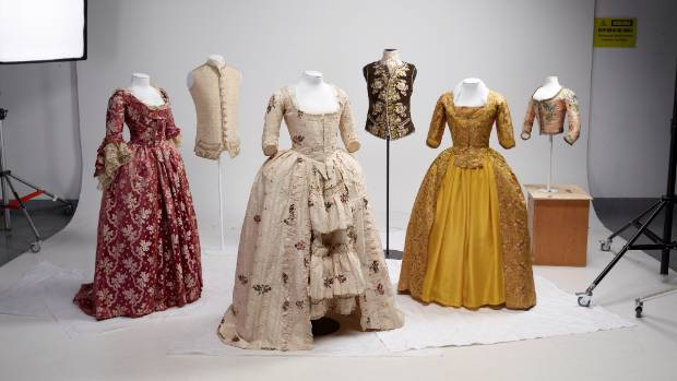 Gowns and waistcoats from Te Papa's European Splendour exhibition.