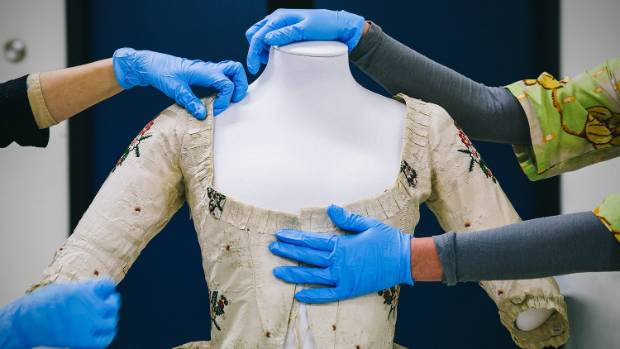 This dress, dating from about 1775, is made of Spitalfields silk.