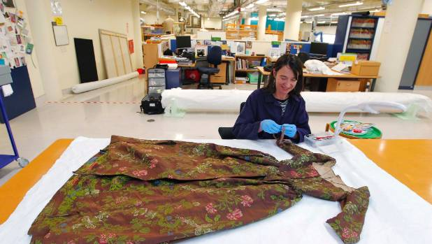 Te Papa conservator Anne Peranteau in the museum's Tory St lab.