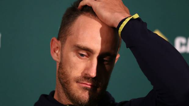Faf du Plessis in thought during his press conference on Wednesday.