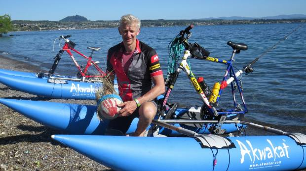 Andrew Elliston successfully cycled across Lake Taupo from Tokaanu to Taupo Yacht Club on Tuesday on pedal-powered ...