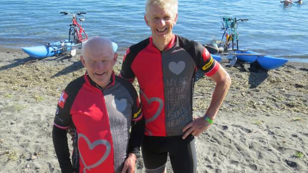 Mike O'Sullivan and Andrew Elliston successfully cycled across Lake Taupo from Tokaanu to Taupo Yacht Club on ...