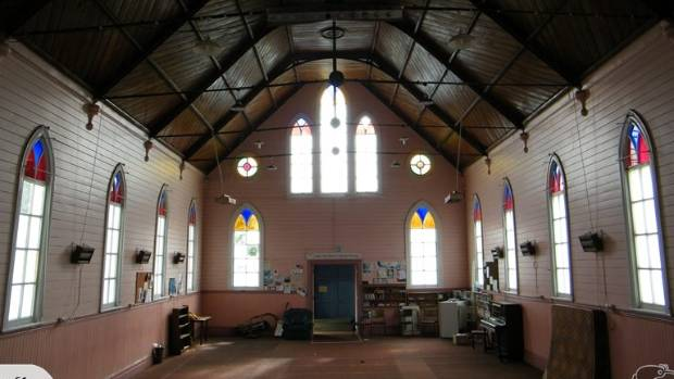 The interior of Waihi's St James Presbyterian Church, which is up for sale on TradeMe.