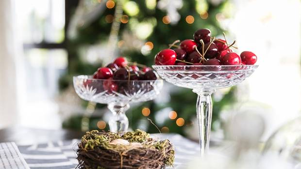 Cherries add colour and  joy to the Christmas table.