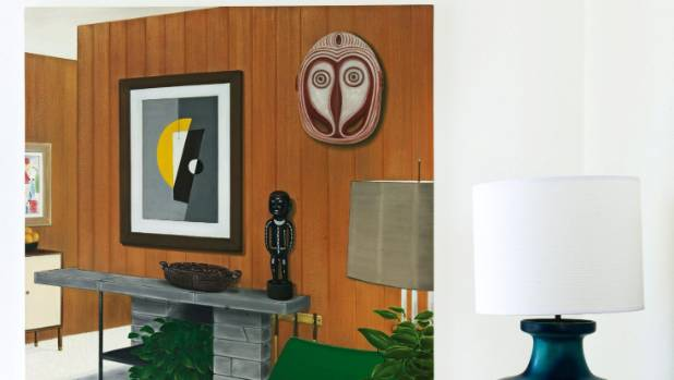 Artwork by Graham Fletcher hangs in the conversation area of the Hinton's living room and almost tricks the viewer into ...