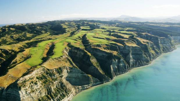 An aerial view of Cape Kidnappers.