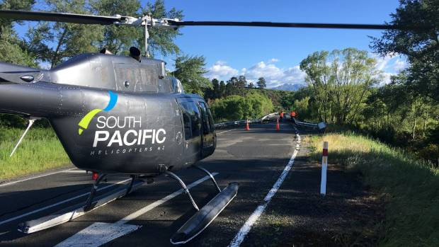 South Pacific Helicopters have been surveying earthquake damage on roads around Kaikoura.
