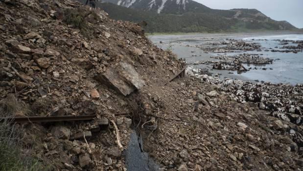 Extensive landslides cover SH1.