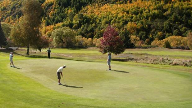 The par-three 14th at Arrowtown Golf Club.