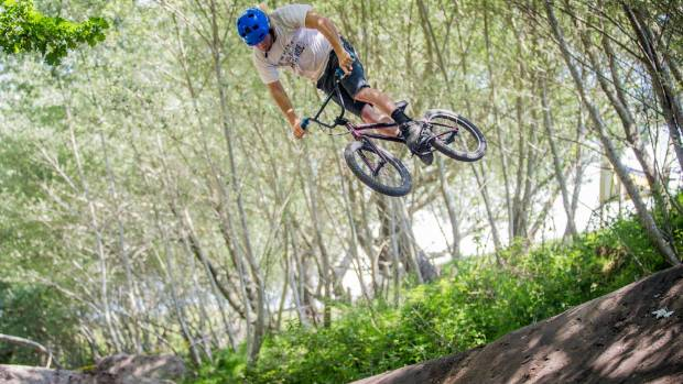 BMX dirt rider Paul Langlands tests out the track of the first New Zealand Dirt  Jump