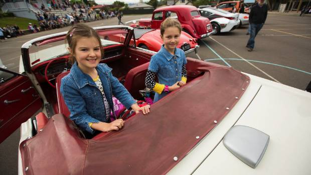 Aishling Brown, 9 and Katelyn Cody, 9 in a 1965 Ford Mustang.
