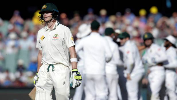 Steve Smith was well short of his ground after a dreadful mix-up