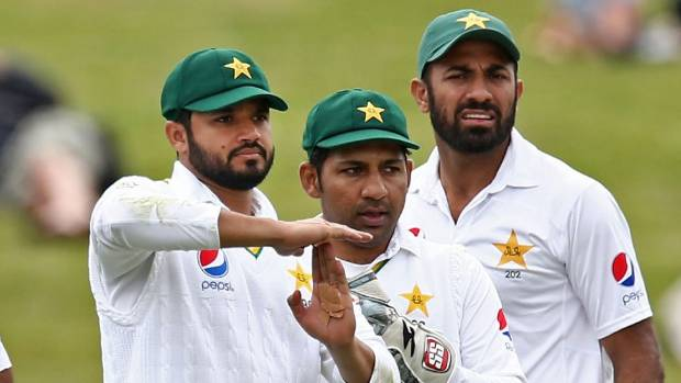 Pakistan captain Azhar Ali of Pakistan calls for a umpire review in the second test against the Black Caps, at Seddon ...
