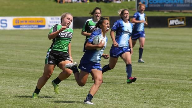 Tasman's Risi Pouri-Lane on the way to scoring against South Canterbury, in their 29-0 victory.