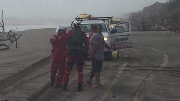 Rescue crews at the Kaipara Harbour tragedy.