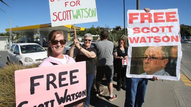 A free Scott Watson protest in 2016 involving Watson's sister Sandy Watson and his aunt Jenny Watson.