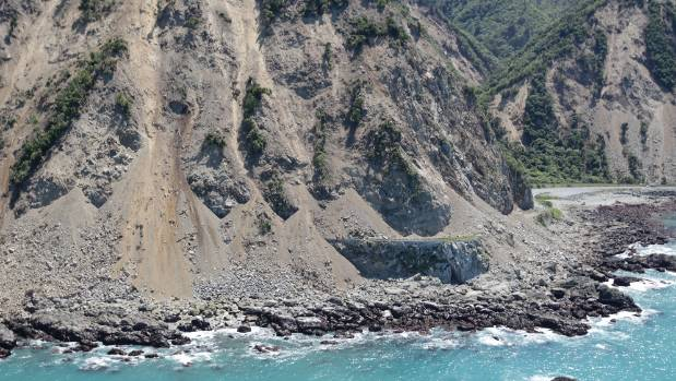 Massive slips cover SH1 and the rail line north of Kaikoura after the 7.8 earthquake.
