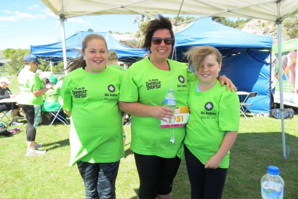 St John fundraising and marketing manager Debbie Pipson (centre) with Aaliayah,11, and Ella Garland, 10.