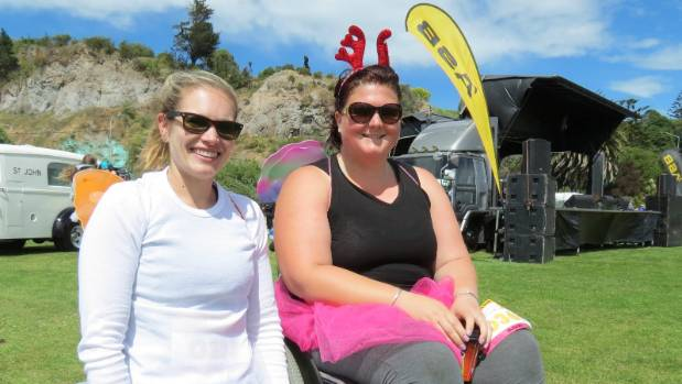 Kristine Grooby (right) and her friend and training partner Linda Sloan. Grooby was the first wheelchair competitor over ...