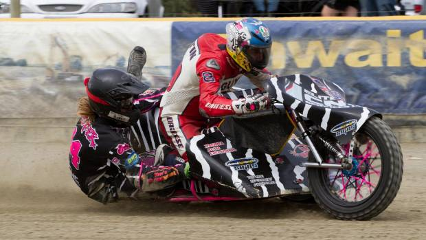 British motorbike star Guy Martin, with Jacob Cooper in the sidecar, takes to the Oreti Park Speedway track in Invercargill.