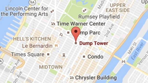 Trump Tower Nyc Map.Pranksters Target Trump Tower Renaming It Dump Tower Stuff Co Nz