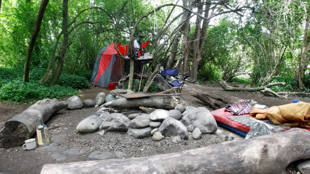 The semi-permanent camp on the banks of the Takaka River where James Rano Dick, known as Hemi, lived.