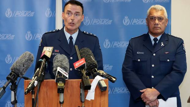 Inspector Willi Fanene, right, and Inspector Mark Fergus, left, update media after seven people died in a fishing boat ...