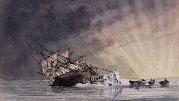 An illustration of the position of the HMS Terror at sunrise on July 14, 1837.
