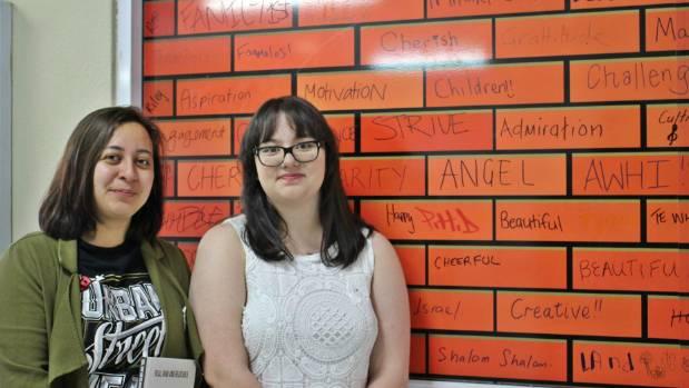 Sarah Colcord and Chloe Destrieux at the Manurewa PowerWall.
