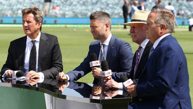 Michael Clarke, second from left, has joined the Channel 9 commentary team, alongside old-hands like, from left,  Mark ...