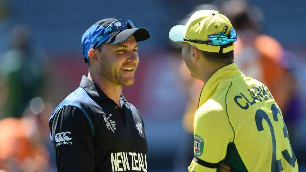 Michael Clarke shares a lighter moment with his old Kiwi rival Brendon McCullum during last year's ICC Cricket World Cup ...