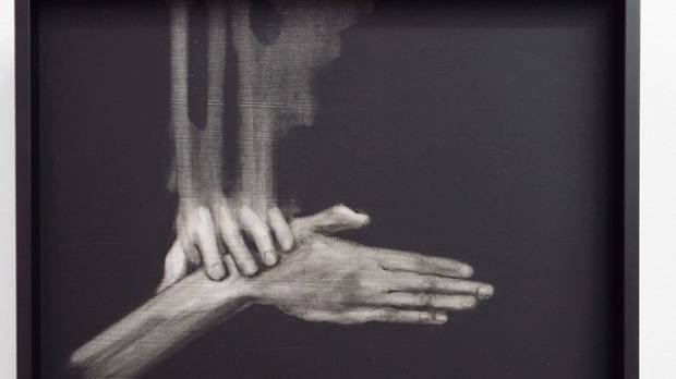 Sanderson says Josephine Cachemaille is an artist to watch. This is her acrylic on board piece, Manoeuvre 8.