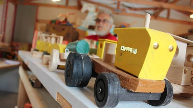 Wooden toys made in Svend Fanefjord's workshop.