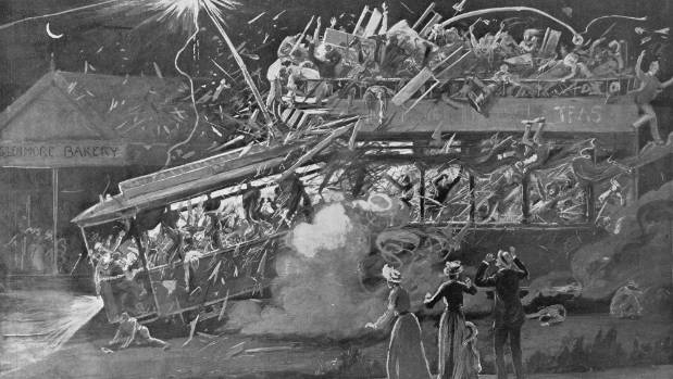 A lithograph of the Kingsland tram tragedy of 1903.